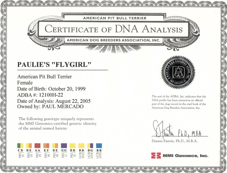 Paulie\'s Fly Girl Certificate Of DNA Analysis
